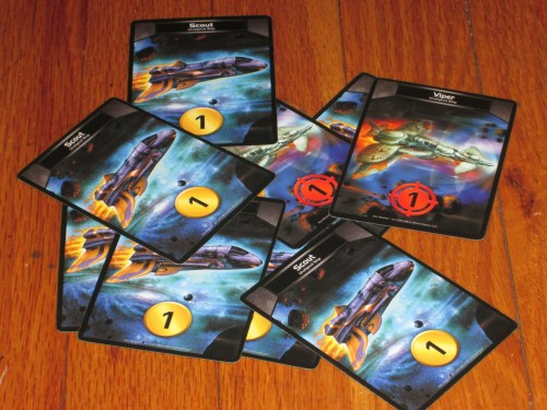 This is an anticlimactic picture to end on, but this is the starting deck in Star Realms. Those...are pretty weak cards.