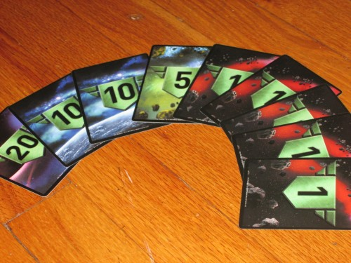 The authority cards in Star Realms are double-sided. They're a little tough to wrap your mind around at first, but it's nice to not have to keep a paper and pencil handy.