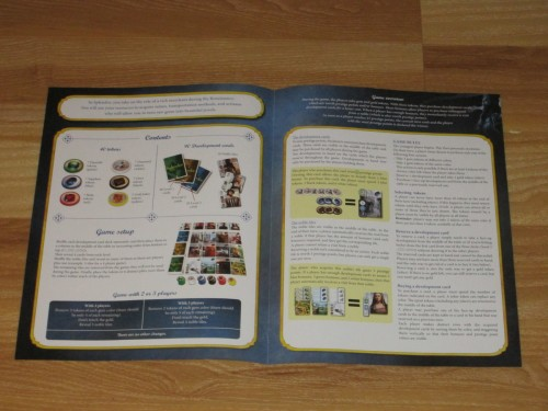 This is the inside of the rulebook. And that's about all you need to know how to play. And no, there's no insert--the rules fit almost completely on two pages. Fantastic.