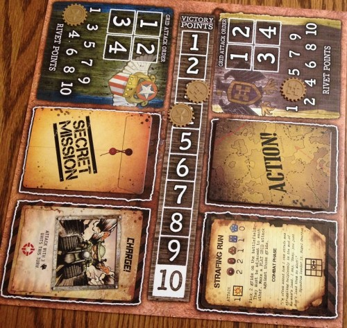 Tracking victory points, rivets, and the card decks is made nice and easy.