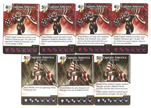 All 7 versions of the First Avenger from both sets and, incidentally, all you need to play Marvel Dice Masters!