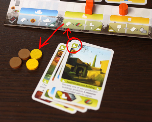 First things first, we need a few resources. The easiest way to do that? Make an offering to Ceres. Discard 4 cards, the top one green, to get 4 resources of your choice (and a new production building to your supply)