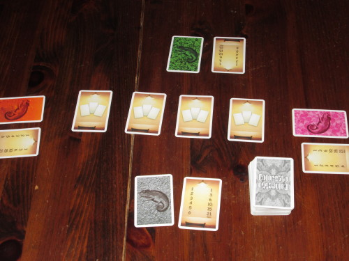 Coloretto set up for four players.