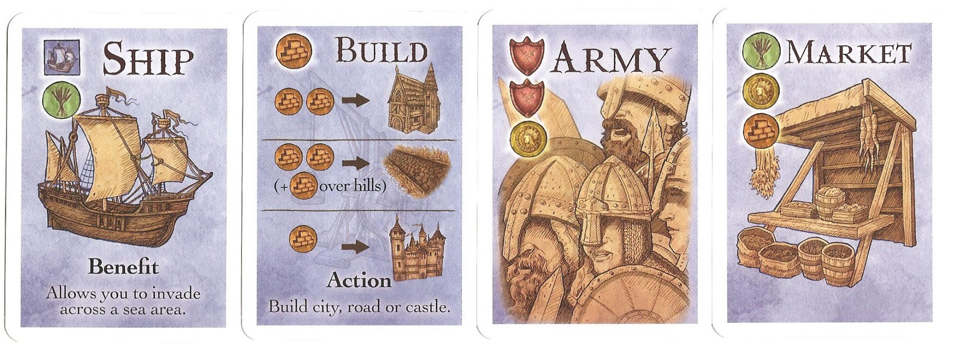 A hand of starting action cards.