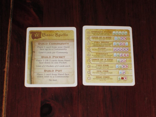 Hocus comes with a handy aid for each player. On one side is the basic actions that players can perform; on the other side is a ranking of Poker hands, which is super helpful.