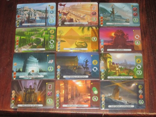The wonders in Duel. Only eight appear in each game, and only seven of those eight can be built. These affect the flavor of each game.