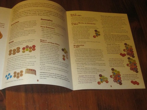 Most of the rules are on this two-page spread. This game is simple to learn and teach.