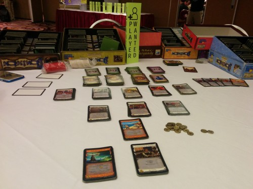 "Dominion, expansions, and my favorite sign: ""Player Wanted."""