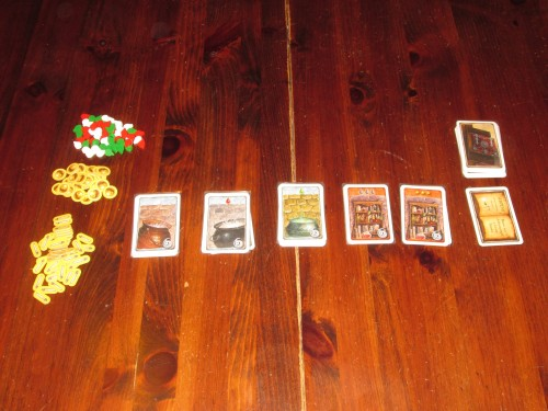 Witch's Brew set up. In addition, each player has an identical hand of cards.