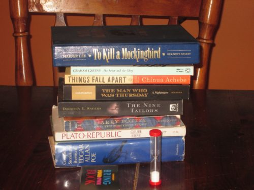 The game set up...kind of. You can bring any book. Here's a sample of what you might find.