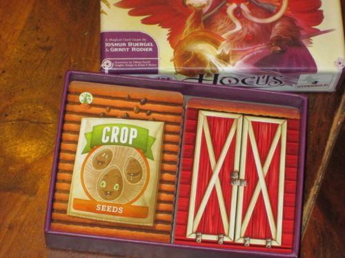 Farmageddon will come in the same size (and thick) box as Hyperbole's earlier release, Hocus. I have the prototype components, but the finished product will have the same high-quality linen finish as Hocus.