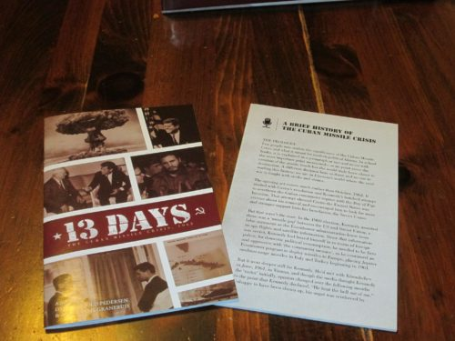 The rulebook is 24 pages, but most of the pages offer a very detailed sample game. The second booklet, on the history of the Cuban Missile Crisis, is informative and interesting.