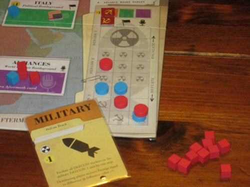 The DEFCON tracks measure how hard each player is pushing each of the three arenas--military, political, and world opinion. Push too hard, and this Cold War turns HOT.