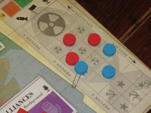 The USSR is pushing their DEFCON to the brink! They'd better find a way to pull back by the end of the round or they will trigger nuclear war and lose the game.