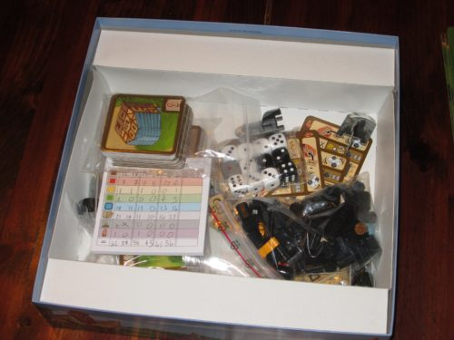 The insert for My Village. A lot of components are packed into this box. (Not shown: the boards and rulebook.)