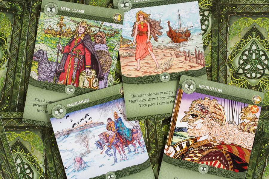 Action cards are drafted and played on your turn in order to move your clans in order to achieve territory.