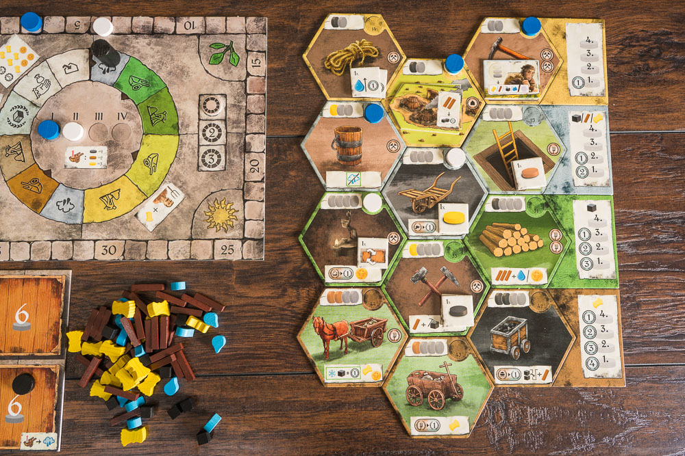 The development tiles are randomly selected each game and will largely dictate the strategies you take.