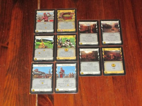 Split piles have two different kinds of cards, one stacked on top of the other. You only have access to the top card. Cards from split piles, naturally, combo well together.