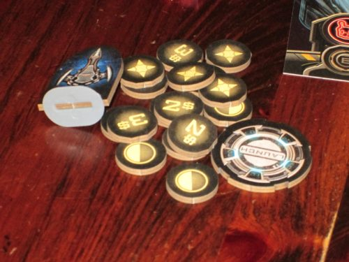 The tokens in Planet Rush are the usual Victory Point Games laser cut ones, but they work well in this game.